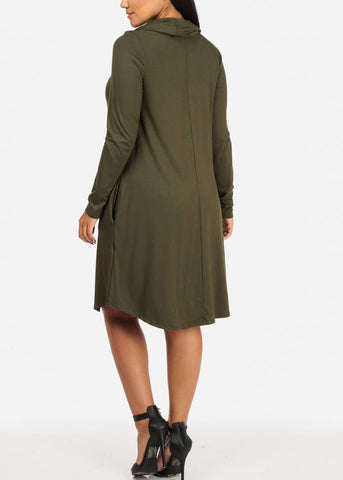 Image of Cowl Neckline Olive Dress