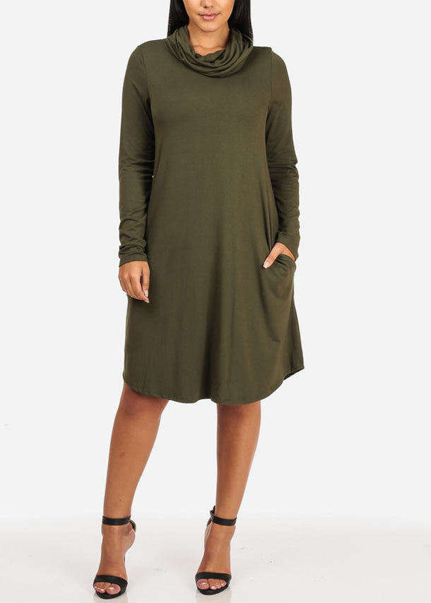 Cowl Neckline Olive Dress