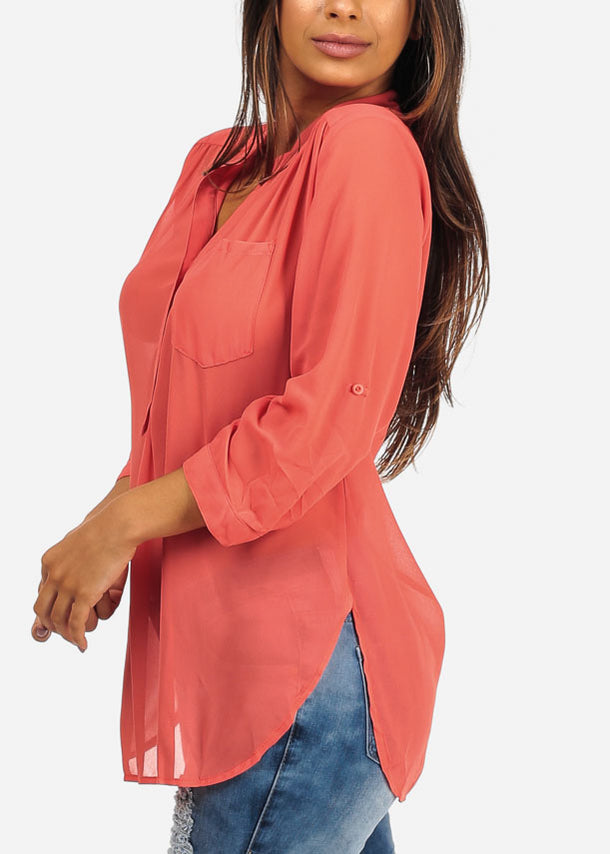 Lightweight Button Up Coral Blouse Top