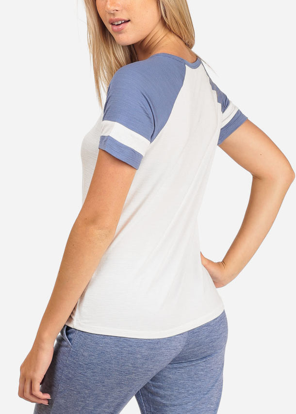 Strappy White Baseball Tee Shirt