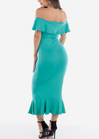 Image of Sexy Tight Fit Strapless Bodycon Mermaid Green Dress For Women Ladies Junior
