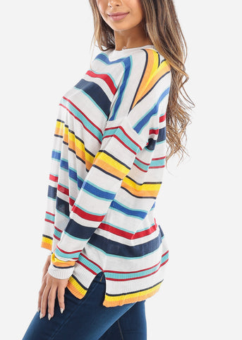 White Multi Color Striped Sweater