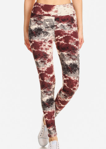 Activewear Plum & Cream Tie Dye Leggings
