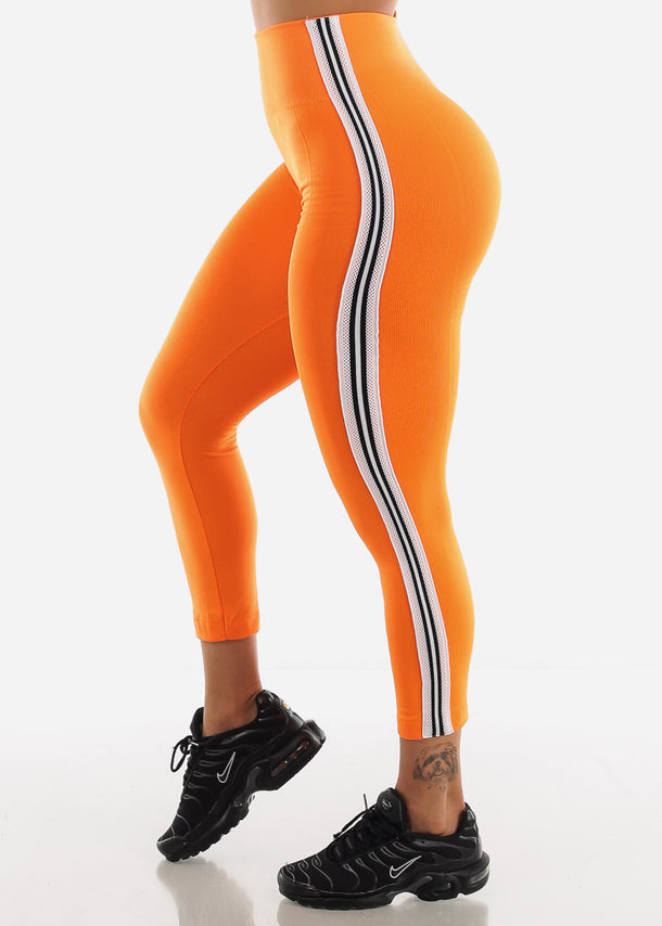 Activewear Stripe Sides Orange Fleece Leggings