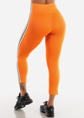Image of Activewear Stripe Sides Orange Fleece Leggings