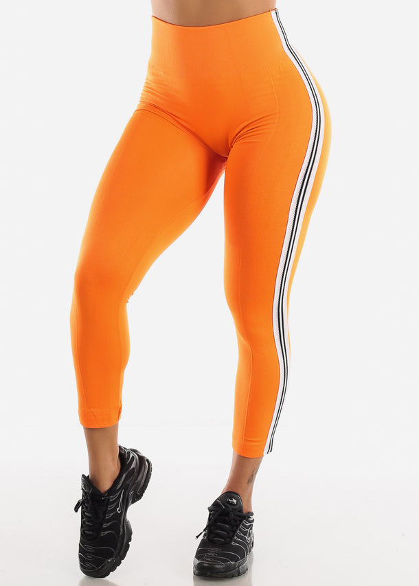 Activewear Stripe Sides Pink Fleece Leggings