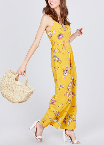 Image of Floral Print Yellow Chiffon Jumpsuit