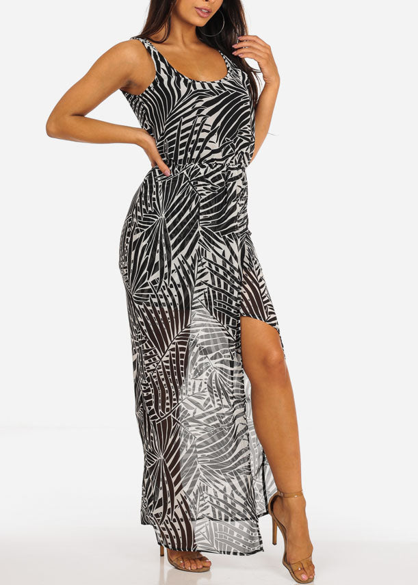 Sexy All Over Print Abstract Maxi Dress W Side Slit