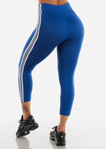 Activewear Stripe Sides Royal Blue Fleece Leggings