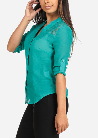 Image of Women's Junior Ladies Stylish Going Out Sexy 3/4 Roll Up Sleeve Floral Lace Detail Button Up Lightweight Teal Blouse Shirt Top