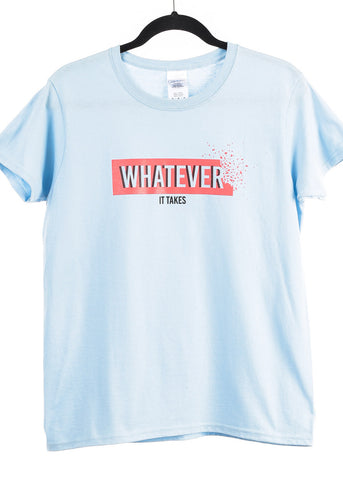 "Image of Light Blue Graphic Top ""Whatever"""