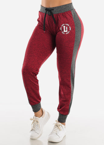 Image of Heather Red Fleece Drawstring Jogger