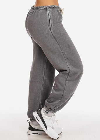 Image of Cotton blend Charcoal Low Rise Drawstring Waist Jogger Pants