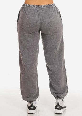 Cotton blend Charcoal Low Rise Drawstring Waist Jogger Pants
