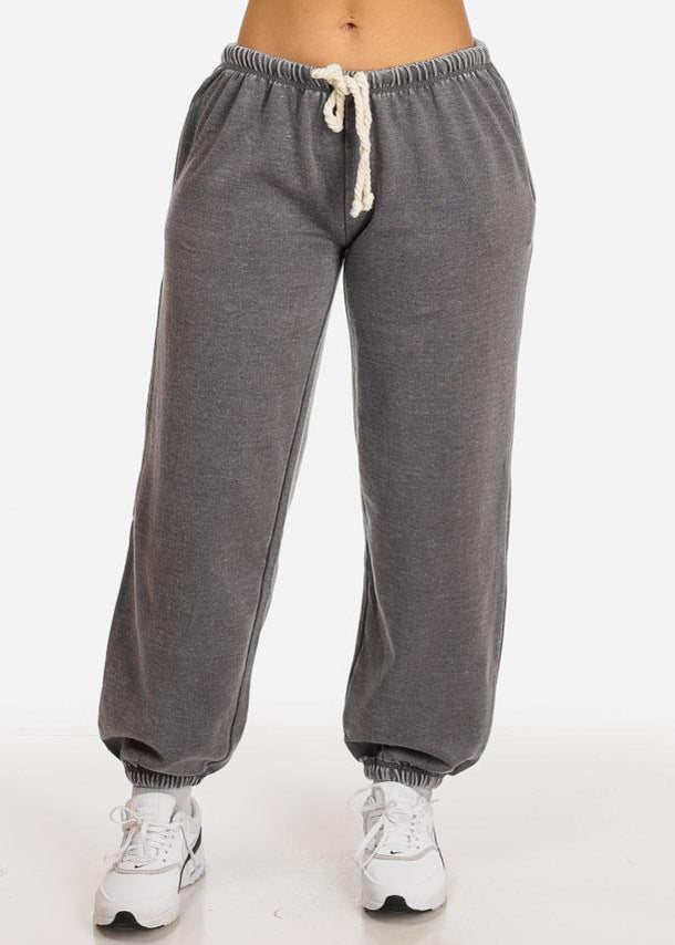 Affordable Charcoal Low Rise Drawstring Waist Jogger Pants