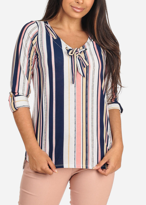 Women's Junior Ladies Dressy Stylish Going Out Cute Navy Stripe V Neckline Design Front Blouse Top