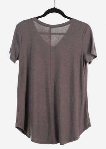 "Image of Charcoal Graphic Top ""Lucky Strike"""