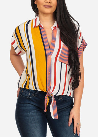 Women's Junior Casual Stylish Summer Trendy Multicolor Red Tie Front Top