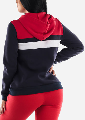 Zip Up Navy And Red Hooded Sweater