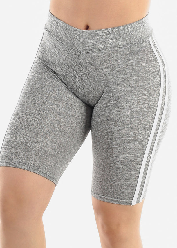 Side Stripes Grey Biker Shorts