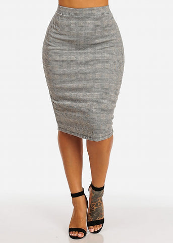 Image of Black And White Plaid Skirt