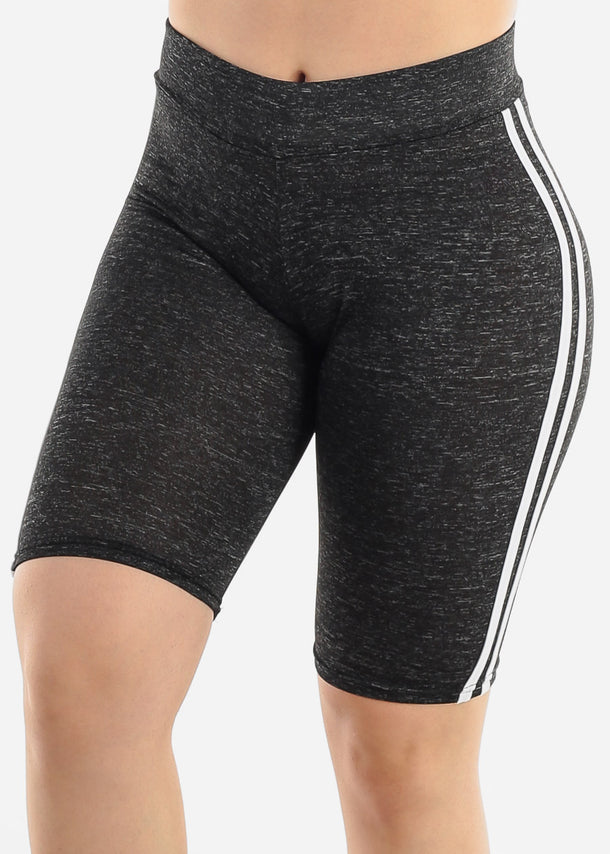 Side Stripes Black Biker Shorts