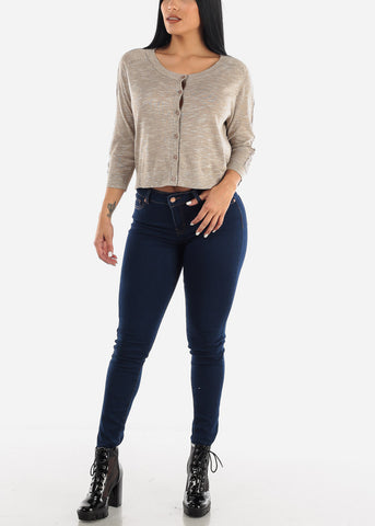 Image of Cropped Button Down Cardigan