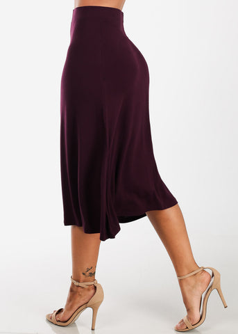 Image of Fit & Flare Burgundy Skirt