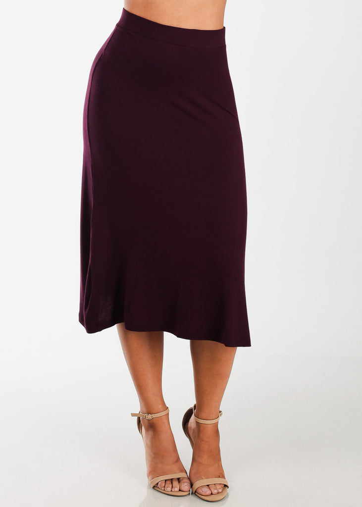 Discount Fit & Flare Burgundy Skirt