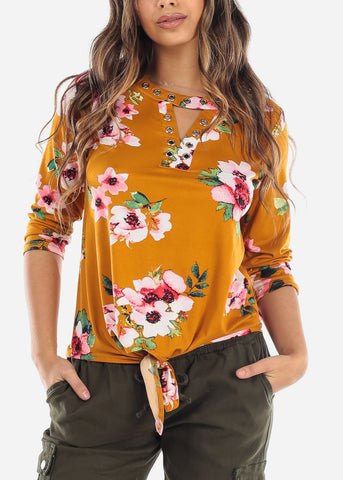 Floral Mustard Keyhole Tunic