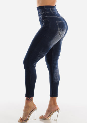 Blue Faux Denim Leggings
