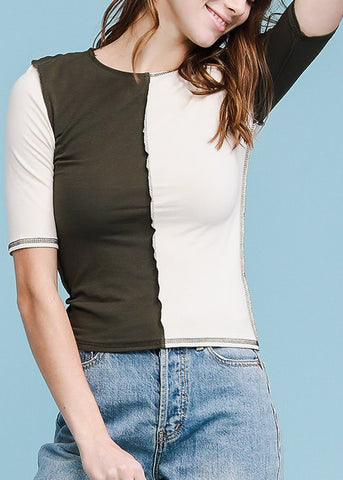 Image of Two Tone Short Sleeve Top