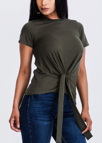 Olive Casual Front Knot Top