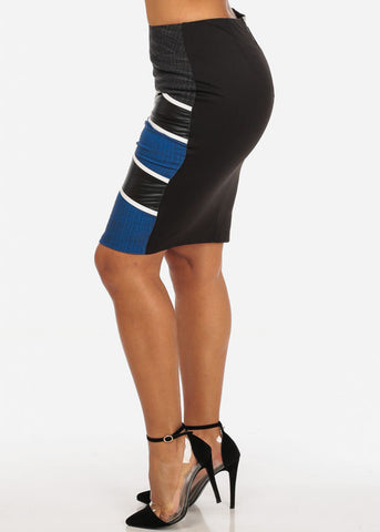 Image of Sexy Stripe Faux Leather Going Out Night Out Stylish Blue Pencil Midi Skirt
