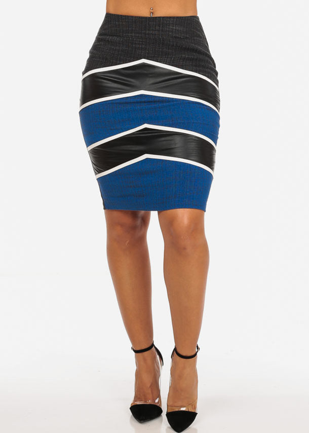 Sexy Stripe Faux Leather Going Out Night Out Stylish Blue Pencil Midi Skirt