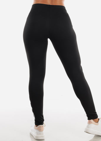 "Activewear Black Leggings ""Love"""