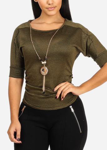 Knitted Olive Top W Necklace