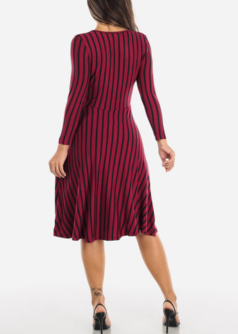 Image of Striped Burgundy A-Line Dress