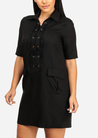 Image of Affordable Casual Black Laced Up Dress