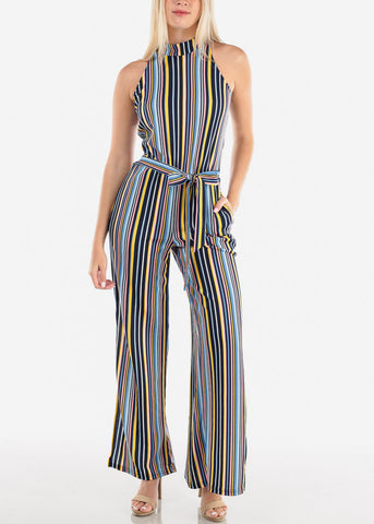 Image of Women's Junior Ladies Going Out Clubwear Night Out Party Halter Neckline Sleeveless Wide Legged Cute Stripe Jumper Jumpsuit