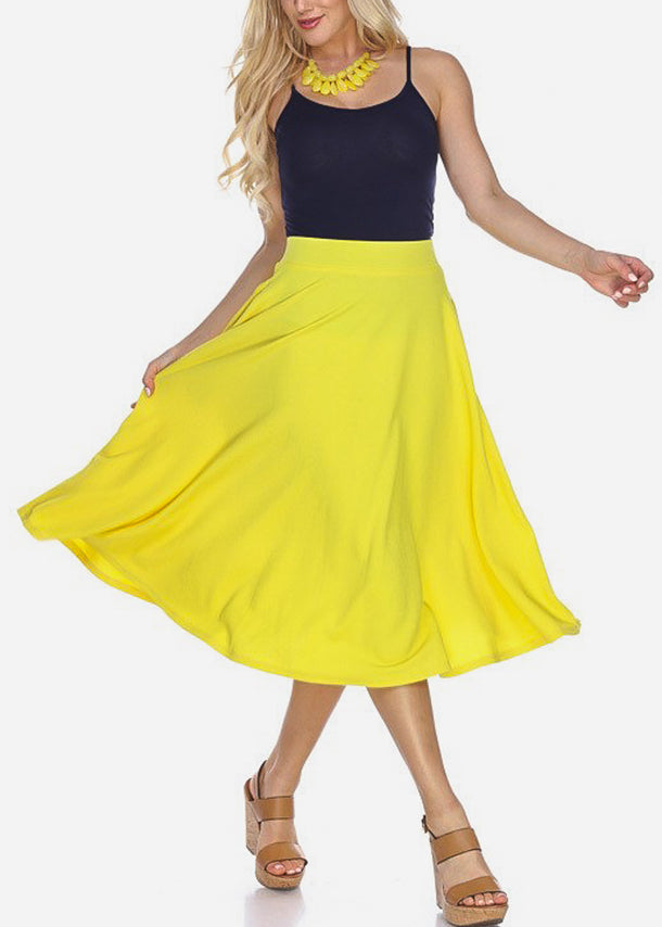 Fit & Flare Yellow Midi Skirt
