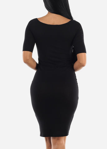 Elbow Short Sleeve Bodycon Dress