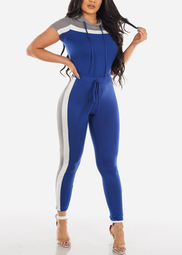 Sexy Short Sleeve Sporty Look Sport Suit Tracksuit Stripe Colorblock Trouser Set Color Block Grey White And Blue Two Piece Set For Women Ladies Junior