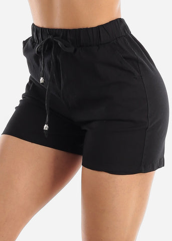 Linen Cotton Black Shorts