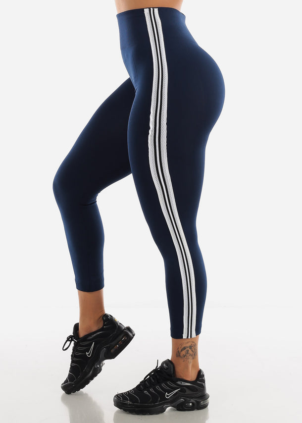 Activewear Stripe Sides Navy Fleece Leggings