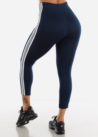 Image of Activewear Stripe Sides Navy Fleece Leggings