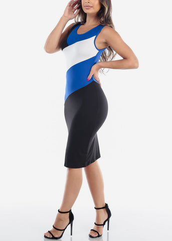 Image of Sexy Tight Fit 2019 New Bodycon Stripe Blue White And Black Dress For Women Ladies Juniors