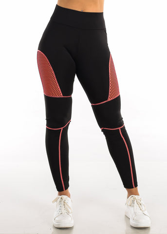 Activewear Neon Orange Mesh Black Leggings