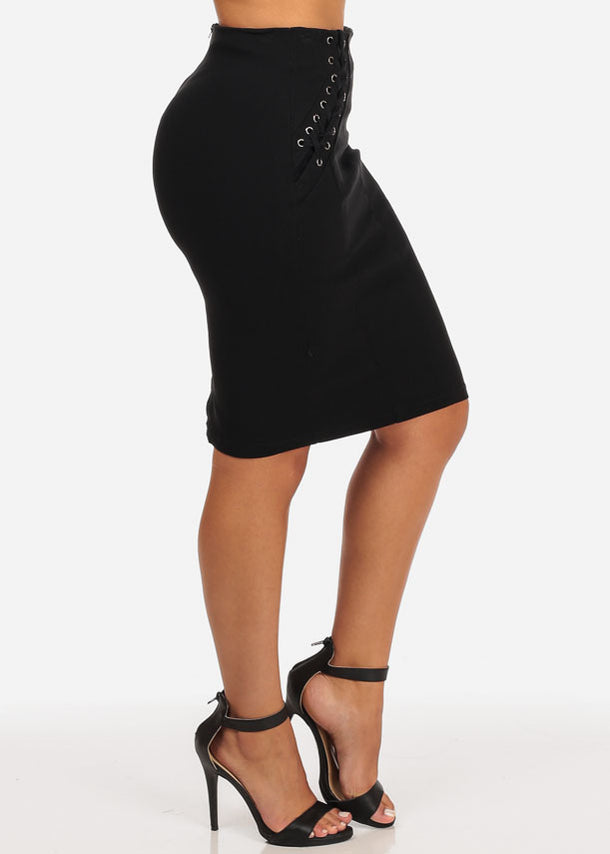 High Rise Lace-Up Stretchy Skirt