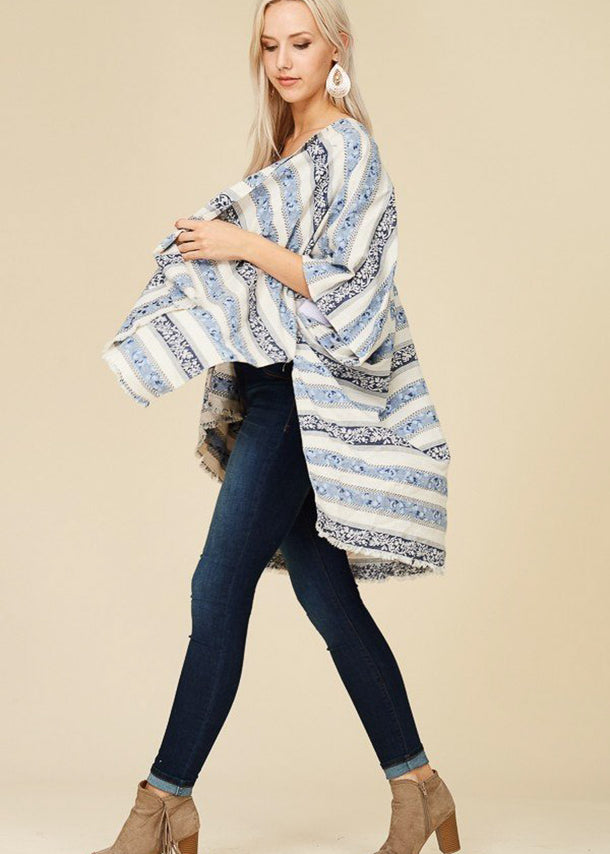Lightweight Printed Navy Cardigan
